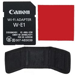 Canon Wi-Fi Adapter W-E1 Bundle with SD and CF Storage Wallet Pouch + Ultrasoft Microfiber Cleaning Cloth!