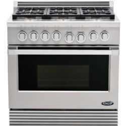 "DCS 36"" Pro-Style Gas Range with 6 Dual Flow Sealed Burners, Natural Gas, Stainless Steel"