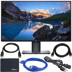 "Dell U2720Q UltraSharp 27"" 16:9 HDR 4K IPS Monitor + Display Port Cable + HDMI Cable + USB 3.0 Cable + AOM Microfiber Cleaning Cloth Monitor Bundle"