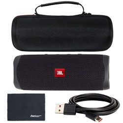 JBL Flip 5 Bluetooth Speaker Portable and Waterproof (Midnight Black) + Custom Hard Case + AOM Starter Bundle