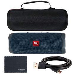 JBL Flip 5 Bluetooth Speaker Portable and Waterproof (Ocean Blue) + Custom Hard Case + AOM Starter Bundle