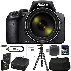 Nikon COOLPIX P900 Digital Camera: with 83x Optical Zoom and Built-in Wi-Fi(Black) + 64GB 1200X SDXC Card + 2 EN-EL23 Batteries + Case + Flexible Tripod + Pro Bundle