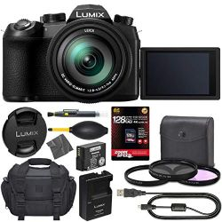 Panasonic Lumix DC-FZ1000 II Digital Camera: (Black) (DC-FZ1000M2) + 128GB AOM 4K Pro Kit: International Version (1 Year AOM Warranty)