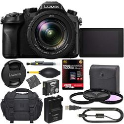 Panasonic Lumix DMC-FZ2500 Digital Camera: (Black) + 128GB AOM 4K Pro Kit: International Version (1 Year AOM Warranty)