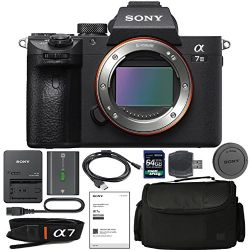 Sony Alpha a7 III Mirrorless Digital Camera (Body Only) With NP-FZ100 Battery, 64gb SDXC 1200x Card, Card Reader, Carrying case, Charger Bundle Kit