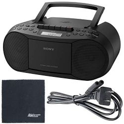 Sony CFD-S70 Portable CD/Cassette Boombox (CFDS70BLK) + AOM Starter Bundle