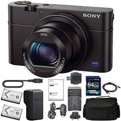 Sony Cyber-Shot DSC-RX100 III Digital Camera (DSCRX100M3/B) + 128GB AOM Pro Kit Combo Bundle - International Version (1 Year AOM Warranty)