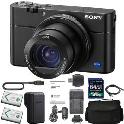 Sony Cyber-Shot DSC-RX100 VA DSC-RX100 V(A) Digital Camera + Sony NP-BX1/M8 Battery Spare NP-BX1 Battery, 64gb SDXC 1200x Card, Reader, Case, AC Adapter Bundle Kit