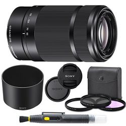 Sony E-Mount 55-210mm (Black) F 4.5-6.3 Lens for Sony E-Mount Cameras Bundle. Includes: Filter Kit, Cleaning Pen, Front and Rear Lens Caps and Original Sony Lens Hood