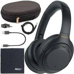 Sony WH-1000XM4 Wireless Noise-Canceling Over-Ear Headphones WH1000XM4/B (Black) + AOM Starter Bundle: International Version