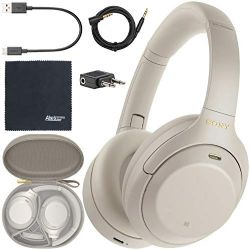 Sony WH-1000XM4 Wireless Noise-Canceling Over-Ear Headphones WH1000XM4/S (Silver) + AOM Starter Bundle: International Version