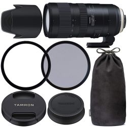Tamron SP 70-200mm f/2.8 Di VC USD G2 Lens for Nikon F with 77mm Ultraviolet (UV) Filter, 77mm Polarizing (C-PL) Filter