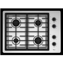 "Whirlpool 30"" Gas Cooktop with 4 Sealed Burners Stainless Steel"