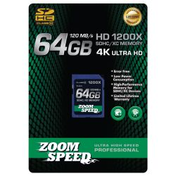 ZoomSpeed 64GB Ultra 4K High Speed Premium SDHC/XC Memory Card 120MB/S- Class 10