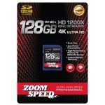 ZoomSpeed 128GB Ultra 4K High Speed Premium SDHC/XC Memory Card 120MB/S- Class 10