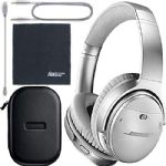 Bose QuietComfort 35 Series II Wireless Noise-Canceling Headphones - Silver (789564-0020) + AOM Bundle - International Version (1 Year AOM Warranty)