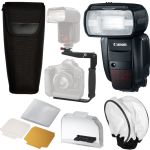 Canon Speedlite 600EX-RT Flash , Pouch, Bracket, Pro Kit