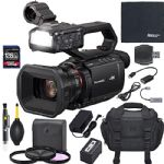 Panasonic AG-CX10 Professional 4K 60p Camera Recorder Camcorder with Built in Video Light, Slow Motion Recording + Case + ZoomSpeed 128GB SDXC Card + AOM Starter Bundle (International Version)