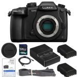 Panasonic Lumix DC-GH5 Mirrorless Micro Four Thirds Digital Camera (Body Only) with 1200 x 64gb SDXC Card, (2) BLF19 Batteries, Charger, Neckstrap, Body Cap AOM Starter Kit