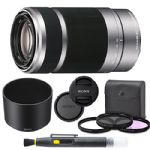 Sony E 55-210mm f/4.5-6.3 OSS Lens (Silver) for Sony E-Mount Cameras Bundle. Includes: Filter Kit, Cleaning Pen, Front and Rear Lens Caps and Original Sony Lens Hood